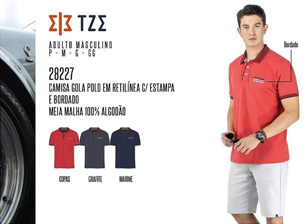 Camisa Gola Polo em Retilínea Masculina TZE c/ Estampa e Bordado