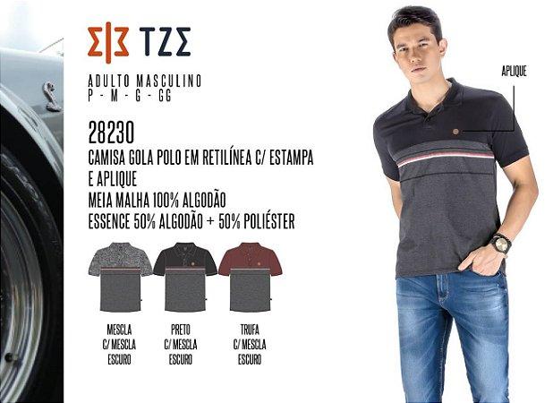 Camisa Gola Polo em Retilínea Masculina TZE c/ Estampa e Aplique