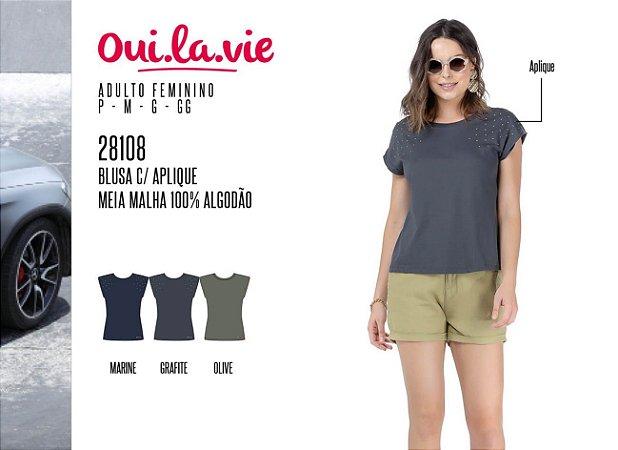 Blusa Feminina Oui.la.vie c/ Aplique