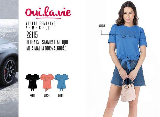 Blusa Feminina Oui.la.vie c/ Estampa e Aplique