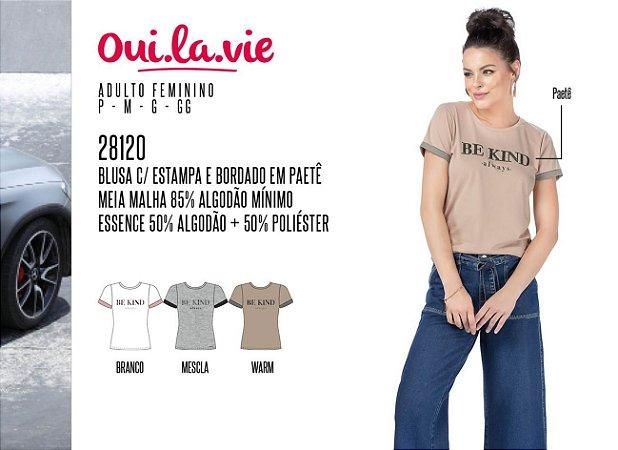 Blusa Feminina Oui.la.vie c/ Estampa e Bordado em Paetê