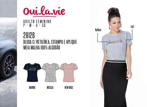 Blusa Feminina Oui.la.vie c/ Retilínea, Estampa e Aplique