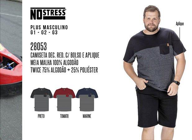 Camiseta Dec. Red. No Stress Plus c/ Bolso e Aplique