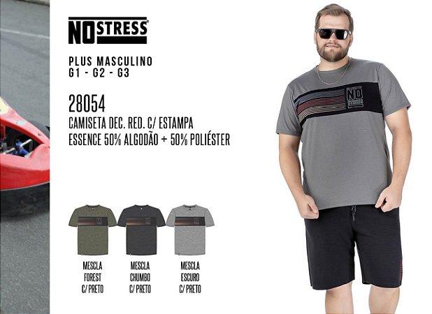 Camiseta Dec. Red. No Stress Plus c/ Estampa