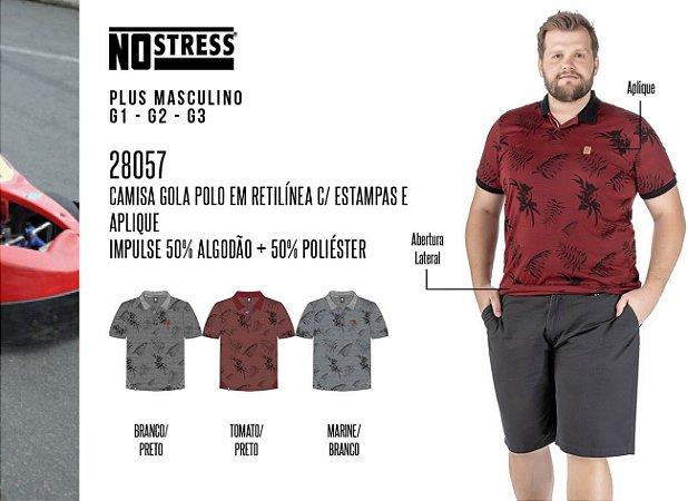 Camisa Gola Polo em Retilínea No Stress Plus c/ Estampas e Aplique