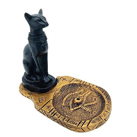 Incensário Gato Egípcio Dourado