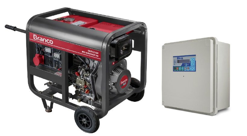 Grupo Gerador a Diesel 5.5KVA 380V Part. Elétrica BD6500E3 Trifásico Marca Branco + QTA 32A