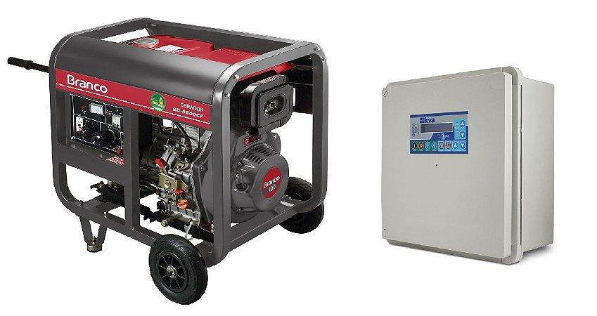 Grupo Gerador a Diesel 5,5KVA Part. Manual BD6500 Marca Branco + QTA 32A