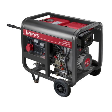 Grupo Gerador a Diesel 5Kva 110/220V Part. Elétrica BD 6500 Trifásico Marca Branco