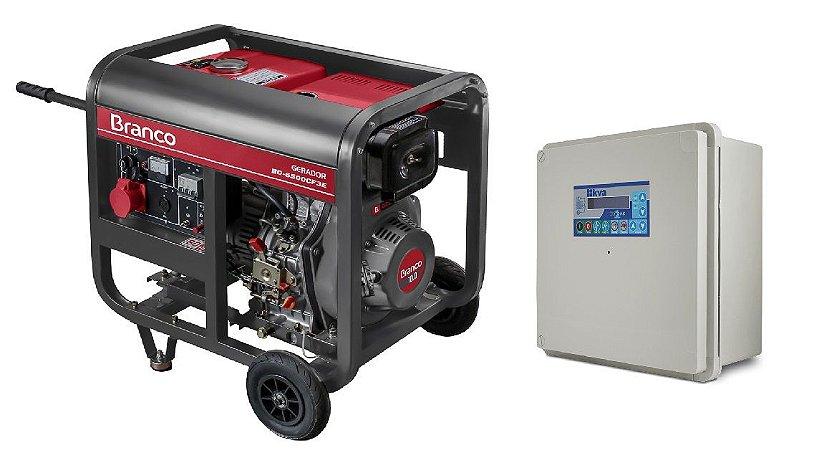 Grupo Gerador a Diesel 5Kva 110/220V Part. Elétrica BD 6500CF3E Trifásico Marca Branco + QTA 32A