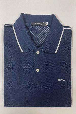 Camisa Polo Azul Marinho   Detalhe na Manga e na Gola