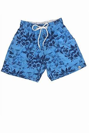 Short Borelli Flowers   Fundo Azul