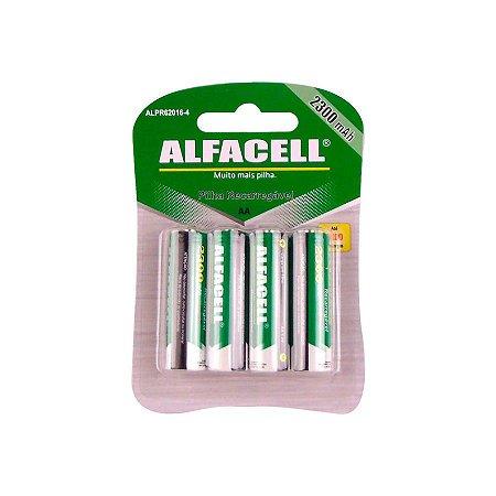 PILHA ALFACELL RECARREGAVEL COM 4 AAA