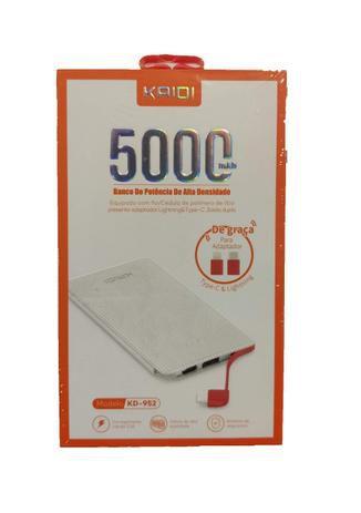 POWER BANK KAIDI FINO 2 ENTRADAS USB E CABO 5000MAH