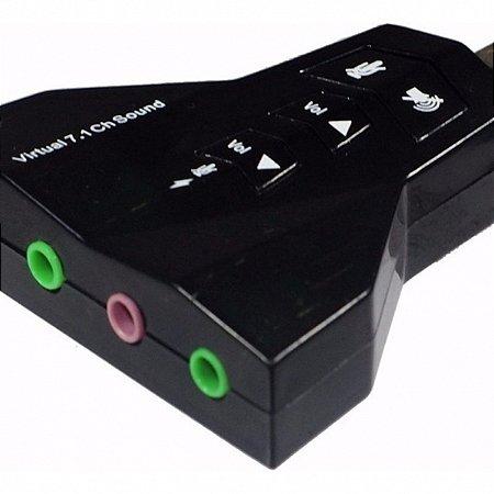 PLACA DE AUDIO USB PARA PC DUAS ENTRADAS 7.1