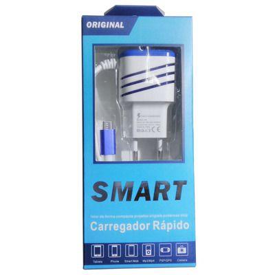 KIT COM 10 CARREGADOR DE CELULAR SMART 3.1A V8 C/ 2 USB (2PCS BONIFICADA)