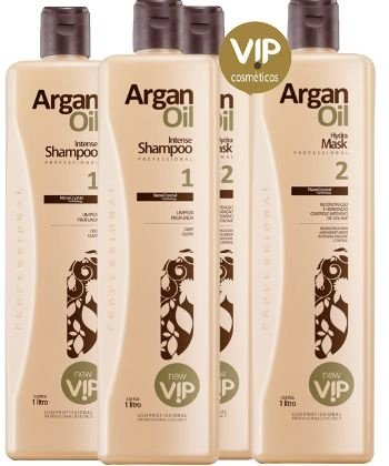 Kombo 02 Kits Escova Progressiva Vip Argan Oil New Vip (4x 1 Litro)