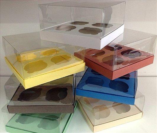 Caixa Para 4 Cupcakes Com a Base de Papel e Tampa de Acetato COM 10 UNIDADES