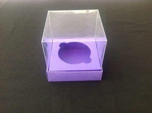 Caixa de Cupcake com a Base de Papel,  berço e Tampa de Acetato 8 x 8 x 8 com 10 unidades