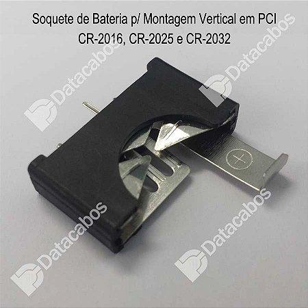 Soquete de bateria para montagem vertical em PCI - CR 2016, CR2025, CR2032