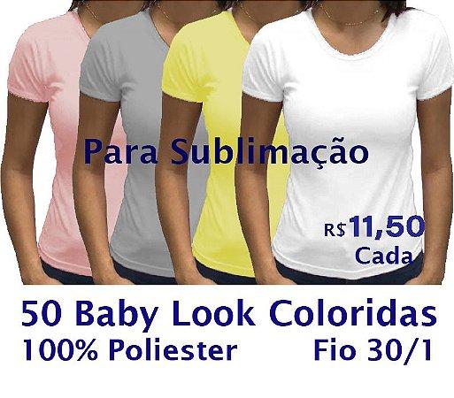 PROMOÇÃO - Pacote com 50 Camisetas COLORIDAS Femininas 100% POLIÉSTER PARA SUBLIMAÇÃO.R$11,50 Cada