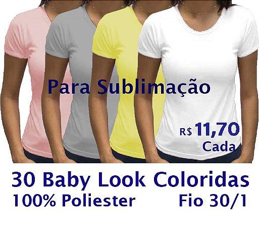 PROMOÇÃO - Pacote com 30 Camisetas COLORIDAS Femininas 100% POLIÉSTER PARA SUBLIMAÇÃO.R$11,70 Cada