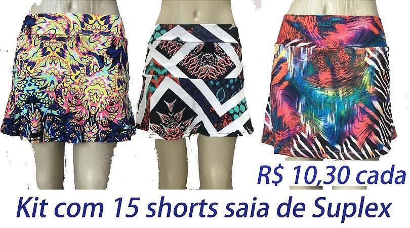 PROMOÇÃO - Pacote com 15 Shorts Saia Suplex - VARIAS ESTAMPAS R$ 10,30 CADA - Tamanhos do P ao GG