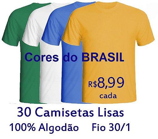 Kit 30 Camisetas Masculinas 100% Algodão Fio 30/1 CORES DO BRASIL - LISAS, GOLA REDONDA - apenas R$ 8,99 cada