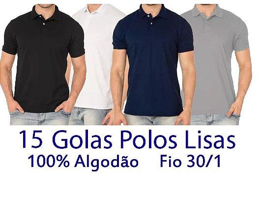 Kit 15 Camisetas Polo 100% Algodão Fio 30/1 Coloridas - LISAS  - apenas R$ 14,20 cada