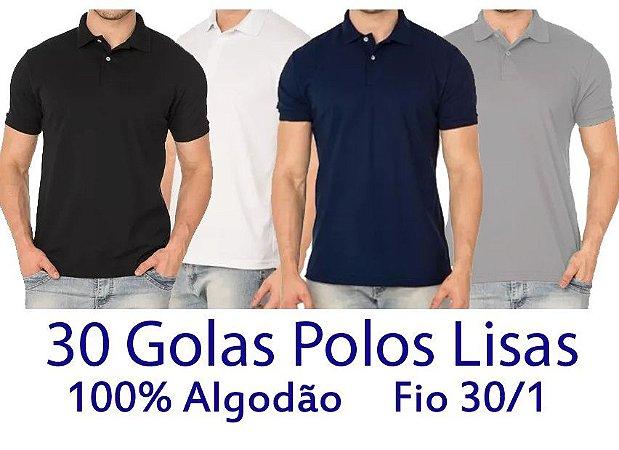 Kit 30 Camisetas Polo 100% Algodão Fio 30/1 Coloridas - LISAS  - apenas R$ 13,60 cada