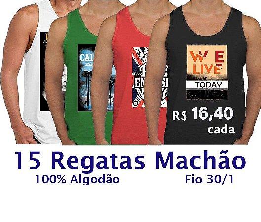 PROMOÇÃO - Pacote com 15 Regatas Estampadas - APENAS R$ 16,40 CADA