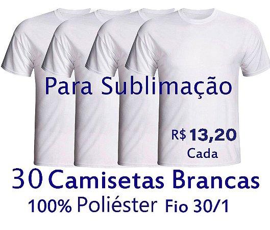 PROMOÇÃO - Pacote com  30 Camisetas Brancas Masculinas 100% POLIÉSTER PARA SUBLIMAÇÃO . R$13,20 Cada