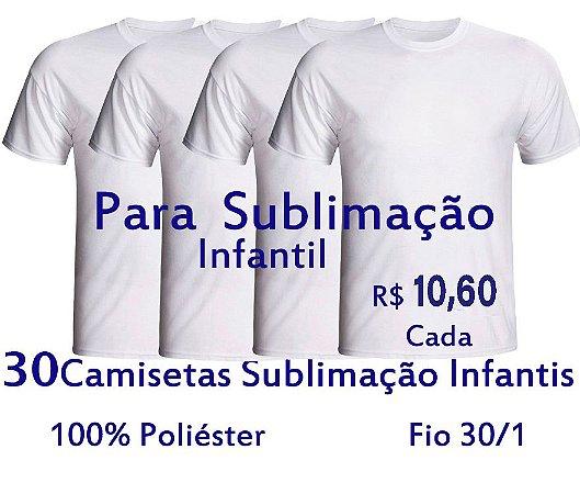 PROMOÇÃO - Pacote com 30 Camisetas Infantis 100% POLIESTER Fio 30/1 BRANCAS - LISAS, SEM ESTAMPA - apenas R$ 10,60 cada
