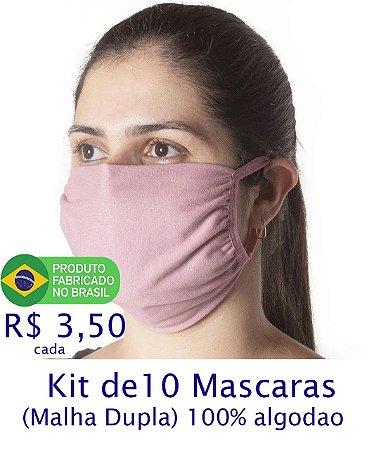 Kit 10 Mascaras Coloridas (Malha Dupla) Lavável 100% Algodão Fio 30/1 - apenas R$3,50 cada