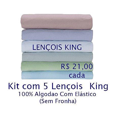 Kit com 5 Lençois King 100% Algodão Fio 30/1 - apenas R$21,00 cada