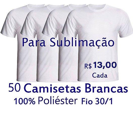 PROMOÇÃO - Pacote com  50 Camisetas Brancas Masculinas 100% POLIÉSTER PARA SUBLIMAÇÃO . R$13,00 Cada