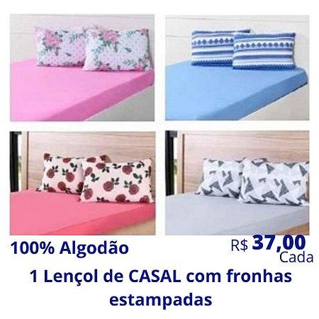 1 Lençol de Casal com Fronhas Estampadas de Algodão (Desenhos e Cores Soritdas) R$ 37,00 Cada