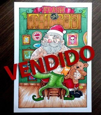 Arte Original - Flash Day Tatoo Papai Noel