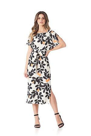 70337e40e Vestido Estampado Midi Bege - Libby´s Boutique