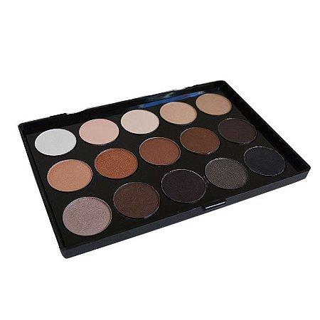 Paleta de sombras Bitarra Beauty  15 cores neutras NUDE
