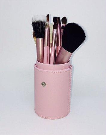 Kit 12 Pinceis Maquiagem Rosa + Case De Couro Pincel Profissional