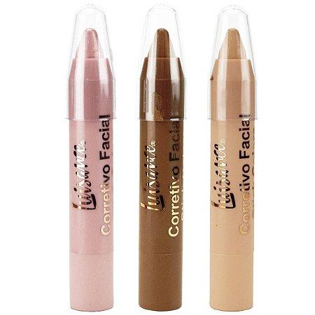 Corretivo Facial Stick  Colors L3006 - Luisance - 3 canetas retráteis