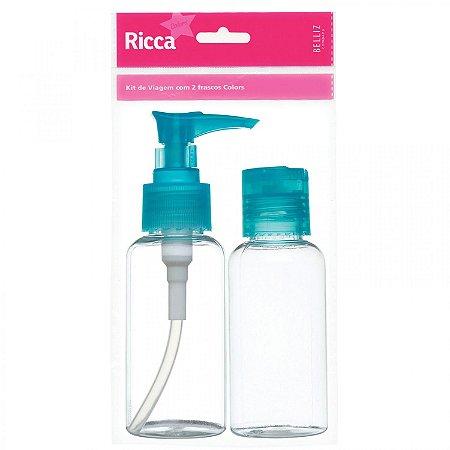 Kit Organizador para Viagem Colors 2 Frascos Azul - 3314 - Ricca Salon
