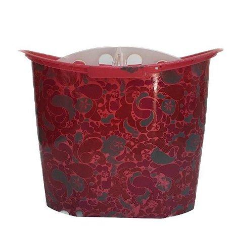 Porta Pincel Com Divisão - Vermelho Com Estampa Indiana
