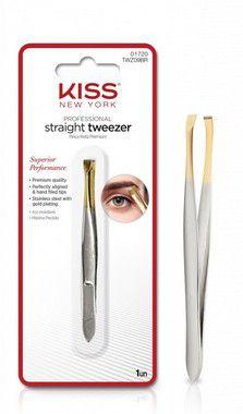 Kiss New York Straight Tweezer - Pinça Reta Premium Ponta Dourada TWZ09BR