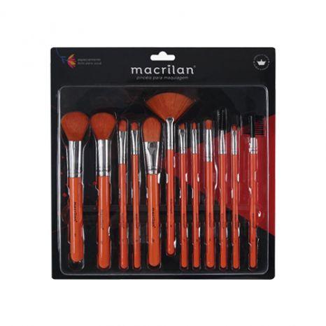 Kit Com 12 Pincéis Para Maquiagem Laranja - Macrilan EN001PROMOÇÃO