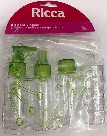 Kit para viagem 3 Frascos , 5 potes e 1 estojo plástico - RICCA