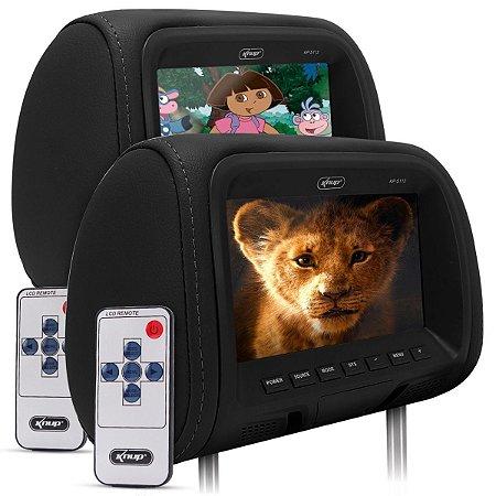 Tela Encosto Cabeça 7 Pol Leitor Sony Dvd Cd Usb Sd Fone e tela 7pol passiva
