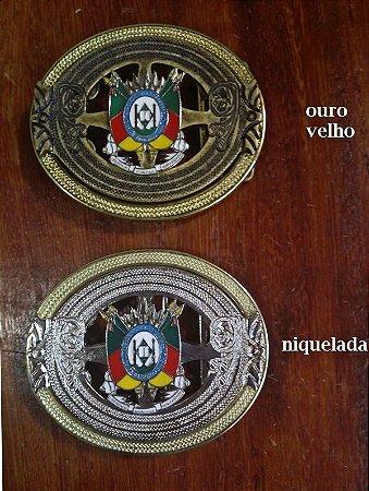 Fivela Brasão do RS - Niquelada/Ouro Velho - 40 mm