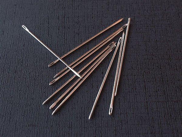 Agulha Ponta Triangular Pequena - 4.4 cm x 0.8 mm - Pacote c/ 10 unidades